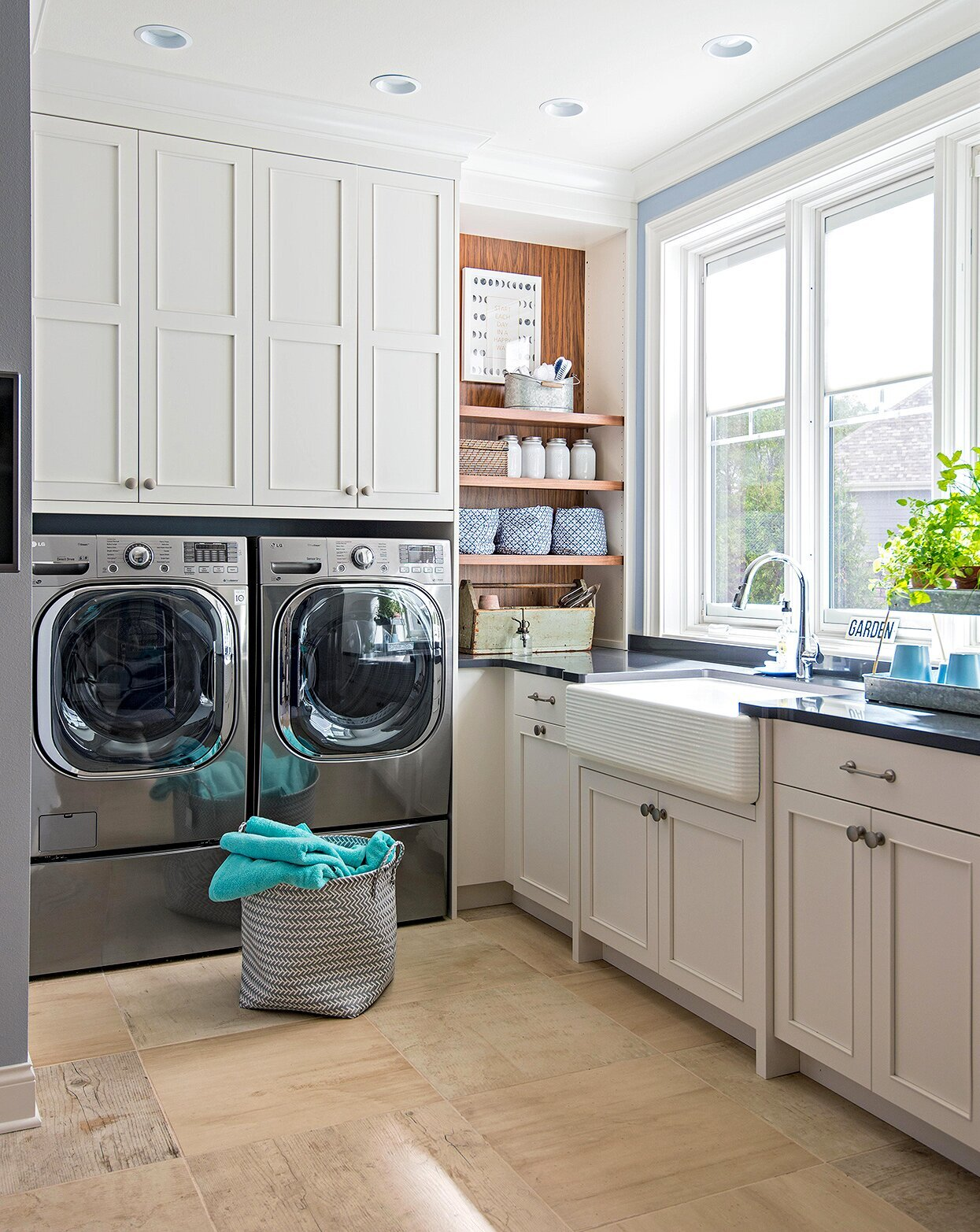 load of laundry in a laundry room