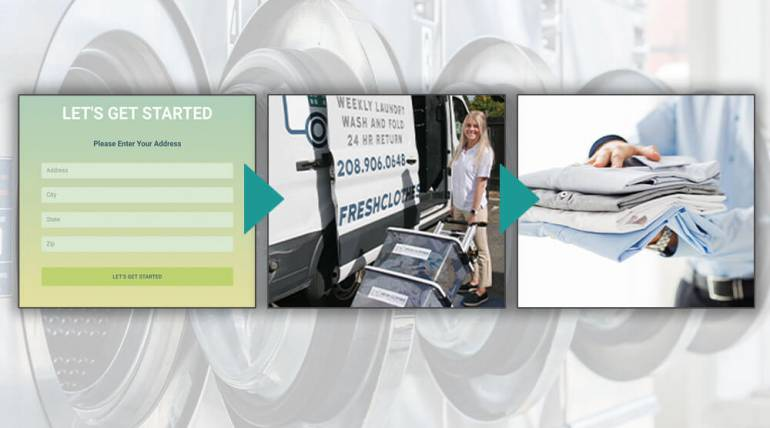 How does a mobile laundry delivery service work?